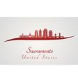 Sacramento V2 skyline in red vector image vector image