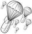 Doodle bombs parachute vector image
