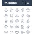 Set Flat Line Icons Tea vector image