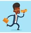 Businessman eating hot dog vector image