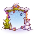 Christmas Gate with snowman ant fir-tree vector image