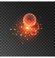 Glittering red sparkles with lens flare effect vector image