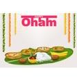 Happy Onam Food for hindu festival in Kerala vector image
