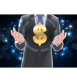 Man with icons symbol of dollar gold vector image