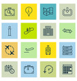 set of 16 traveling icons includes info pointer vector image