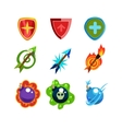 Weapon and Shield Icons Set for Games vector image