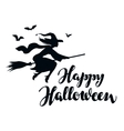 Happy Halloween Silhouette young witch flying on vector image