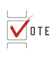 Grunge red checkmarks in checkbox Vote concept vector image