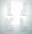 Mesh stylish alphabet letters numbers vector image