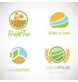 Agro company logo set vector image