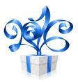 blue ribbon and gift box 2016 vector image