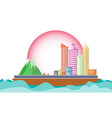 city on ship in the sea concept vector image