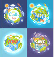 earth day 2017 advertising posters collection vector image