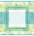 green decorative background with frame and flowers vector image