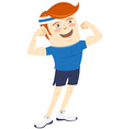 Hipster funny man showing biceps Flat style vector image