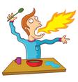 Man eating hot food vector image