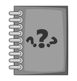 Notebook with question icon gray monochrome style vector image