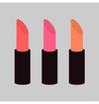 Pink nude lipstick set on gray background Isolated vector image