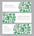 set of three digital money and bank horizontal vector image