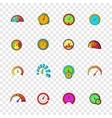 Speedometer icons set pop-art style vector image