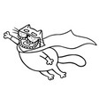 super cat flies to the rescue isolated vector image