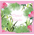 Tropic Pink Flowers and Green leaves card vector image