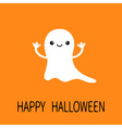 Funny flying baby ghost Smiling face Happy vector image