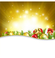 Gold New Year Card With Garland vector image vector image