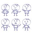 funny men set sketch cartoon vector image