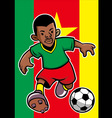 cameroon soccer player with flag background vector image vector image