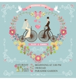Wedding invitationBridegroom on retro bike vector image