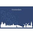 Amsterdam city skyline on blue background vector image