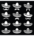 Mexican Sombrero hat with moustache or mustache wh vector image vector image