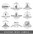 Set of vintage wine labels vector image