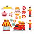 Burger Shop Graphic Elements vector image