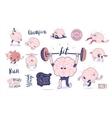 Brain stickers fitness set vector image