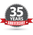 Celebrating 35 years anniversary retro label with vector image