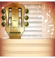 musical background guitar fingerboard with Music vector image