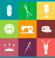 set of sewing and needlework line icons vector image
