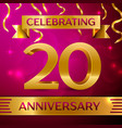 twenty years anniversary celebration design vector image