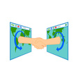 Internet Handshake Over Window vector image