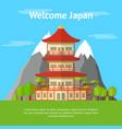 Cartoon japanese temple banner card vector image