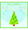 Christmas card with doves and mistletoe vector image