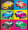 smiling cartoon car vector image