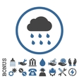 Rain Cloud Flat Rounded Icon With Bonus vector image