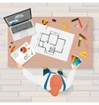 Architect construction engineering planning and vector image