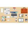 Businessman desk with laptop vector image