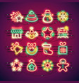christmas colorful neon icons vector image