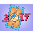 Happy new year 2017 and Volleyball vector image