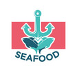 seafood colorful logo label with anchor and fish vector image
